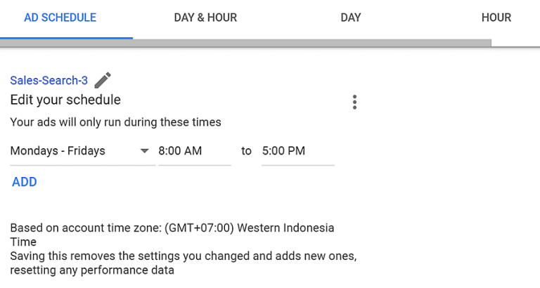 página de definição de horários para publicar anúncios no google adwords