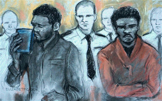 Michael Adebowale and Michael Adebolajo as they were found guilty of the murder of Fusilier Lee Rigby