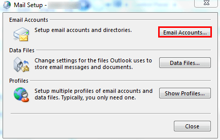 Select the Email Accounts in Outlook