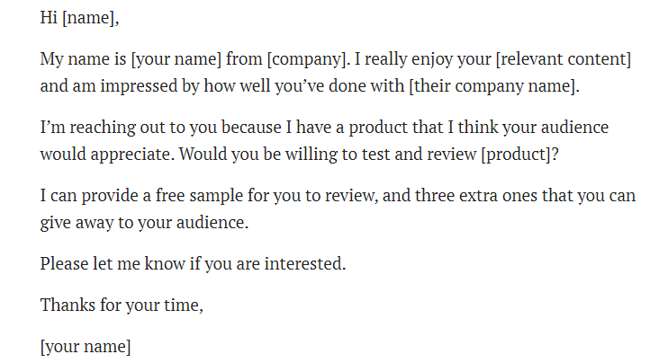 Free Email Template for micro influencer outreach.