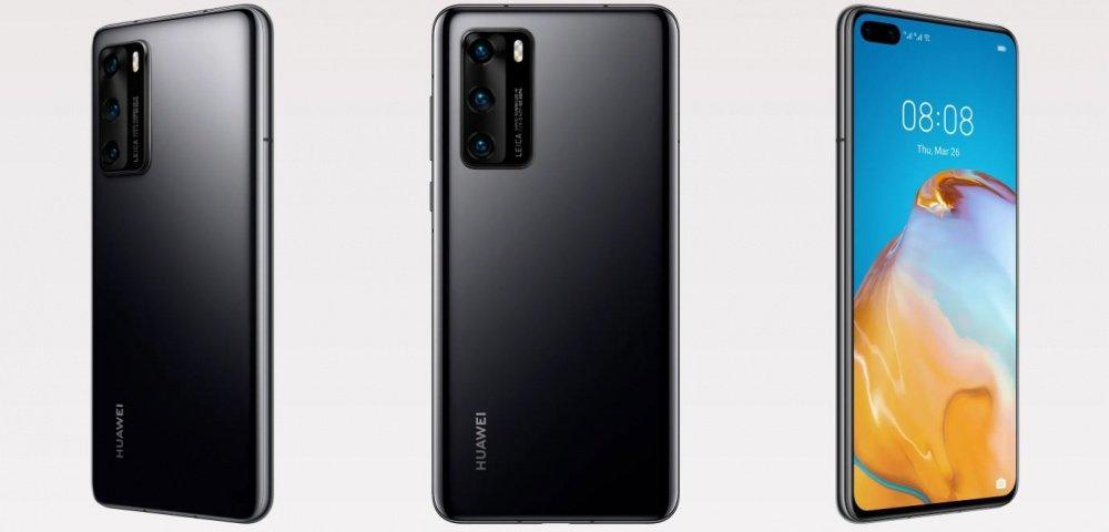 Huawei P40 Black в анфас и в профиль
