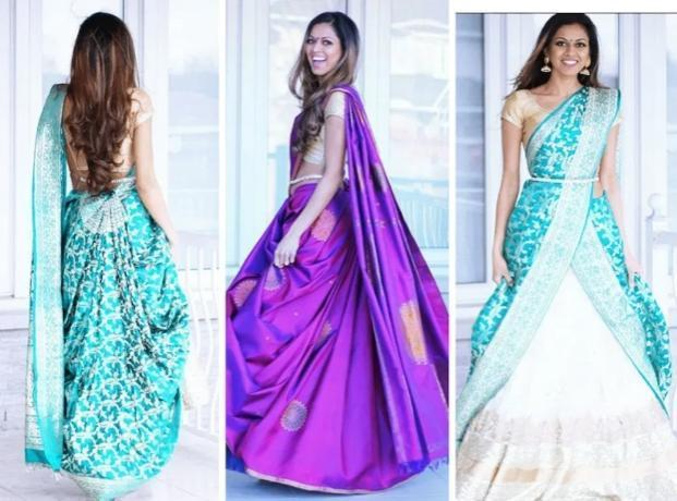 Tia Bhuva's way of draping saree using a skirt