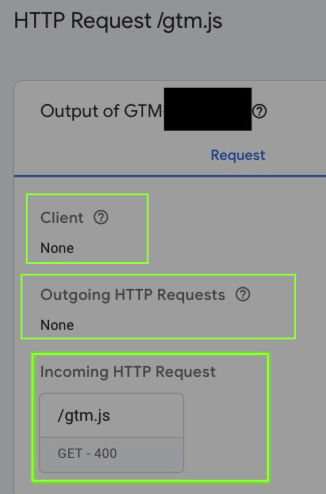 GTM Server Side Preview of HTTP request for  gtm.js. Notice the 400 server response and missing query parameters