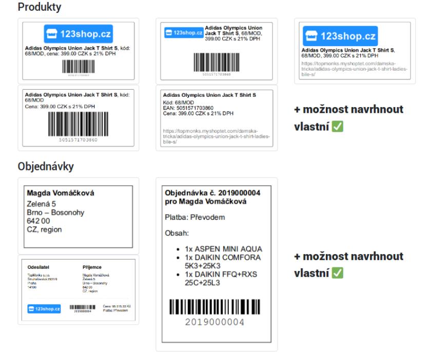 Šablony pro tisk štítků, Shoptet doplněk, plugin, e-shop, e-commerce.