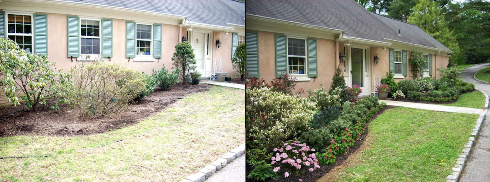 Side-by-side front garden transformation