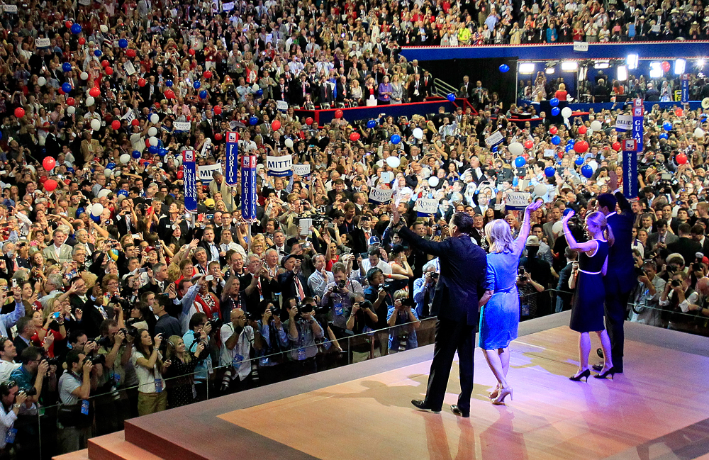Republican presidential candidate Mitt Romney waves to the delegates at the end of the 2012 Republican National Convention in Tampa on Aug. 30, 2012. (Dirk Shadd/Tampa Bay Times)