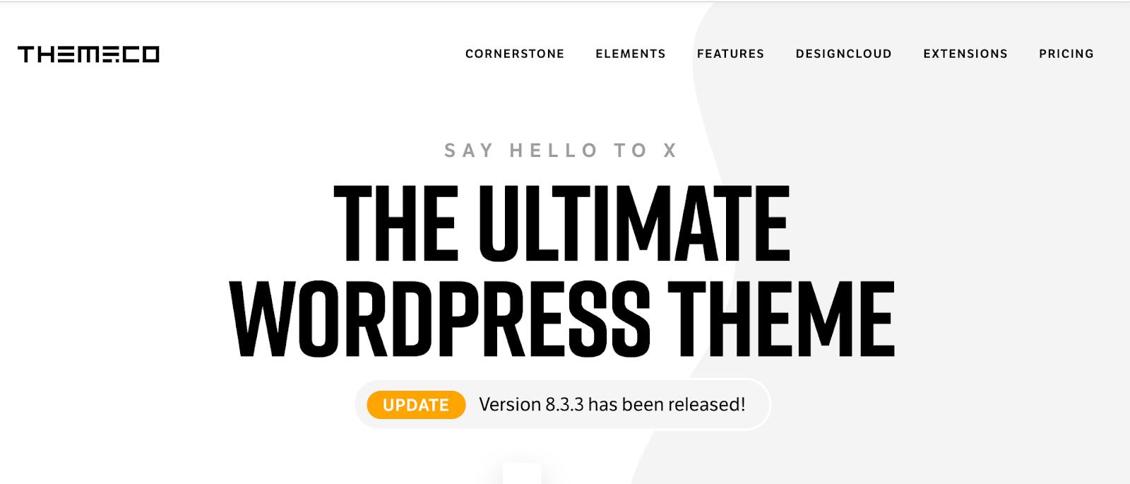 X theme Landing Page WordPress Theme