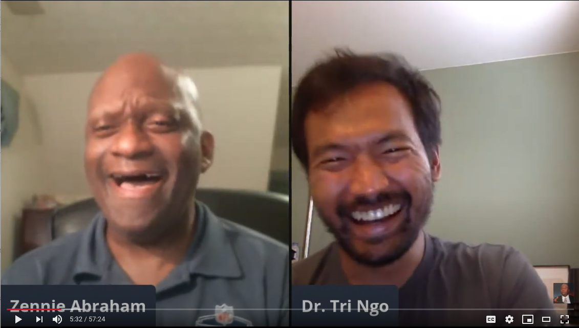 Screenshot of Zennie Abraham and Tri Ngo in a video chat window. They are both laughing but Abraham looks uncomfortable as he does so.
