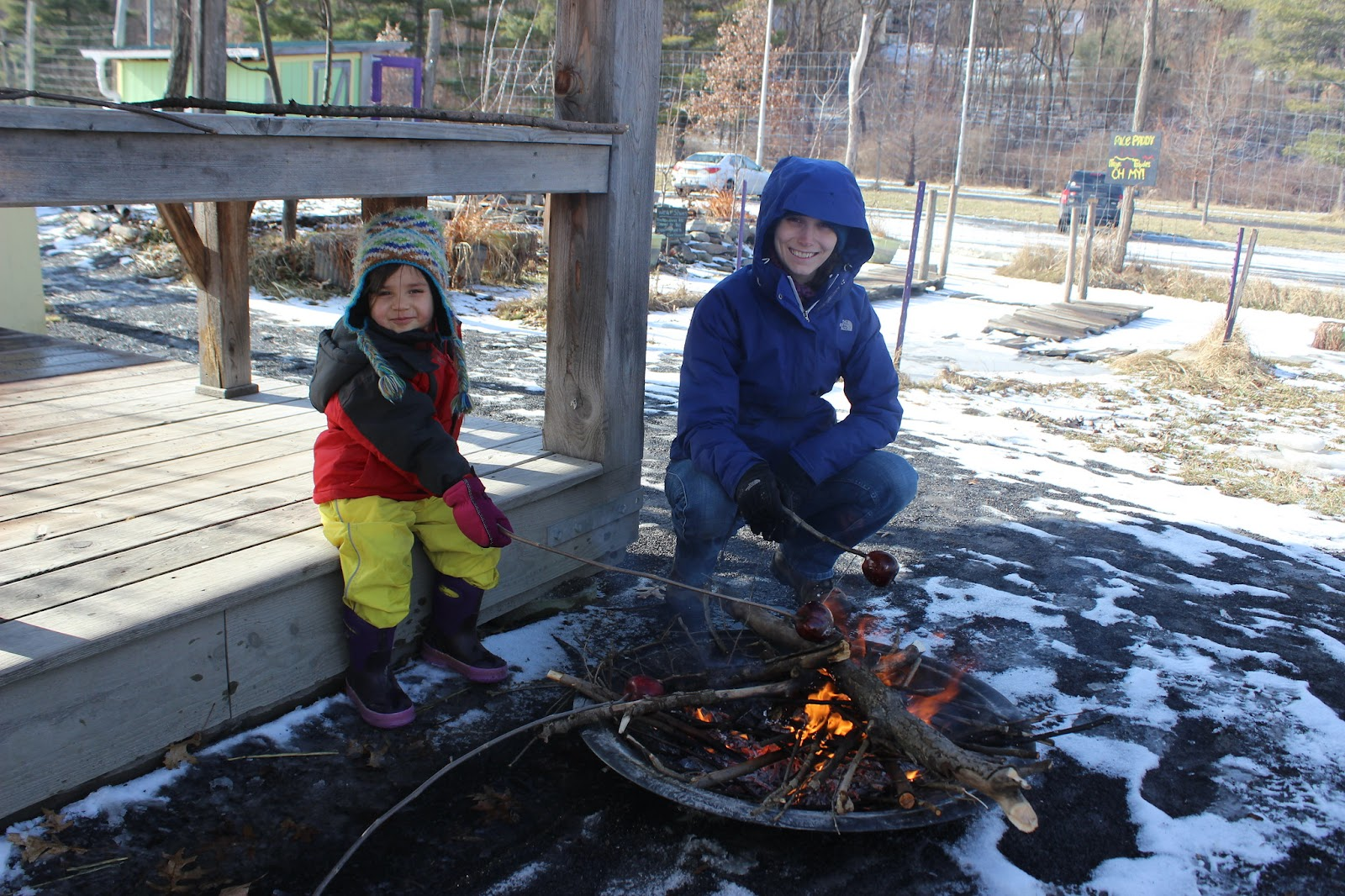 A child accompanied beside an adult roasts an apple over a small fire pit.