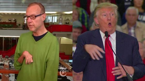 川普在一場造勢演說模仿一名患有先天性關節攣縮症,而無法正常彎曲及伸直關節的身障記者-柯佛列斯基(Kovaleski)。