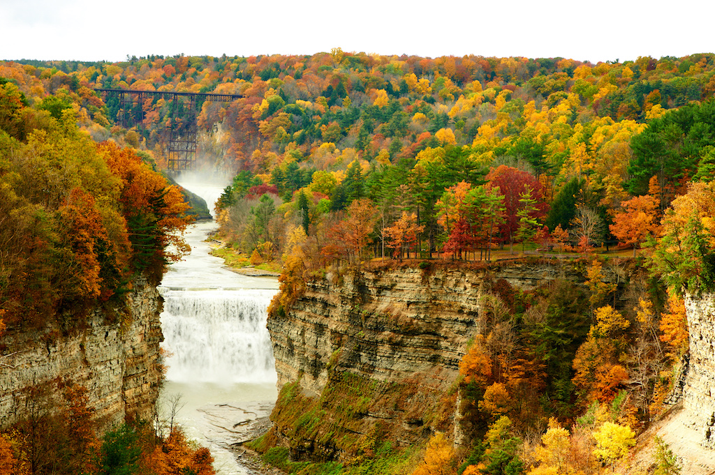 Letchworth State park Waterfall with Autumn leaves changing colors