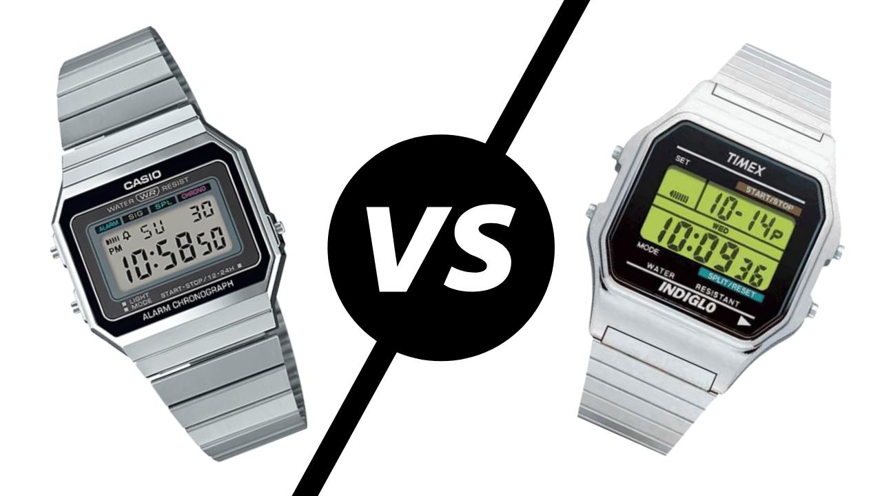 Photo of a Casio digital watch and a Timex digital watch