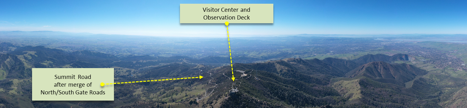 Bicycle climb Mt. Diablo - aerial drone panorama photo of visitor center and observation deck