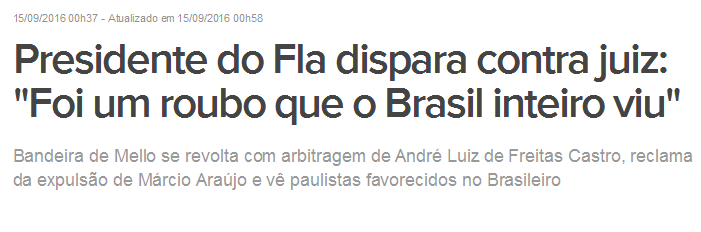 Mais um chororô do Flamengo