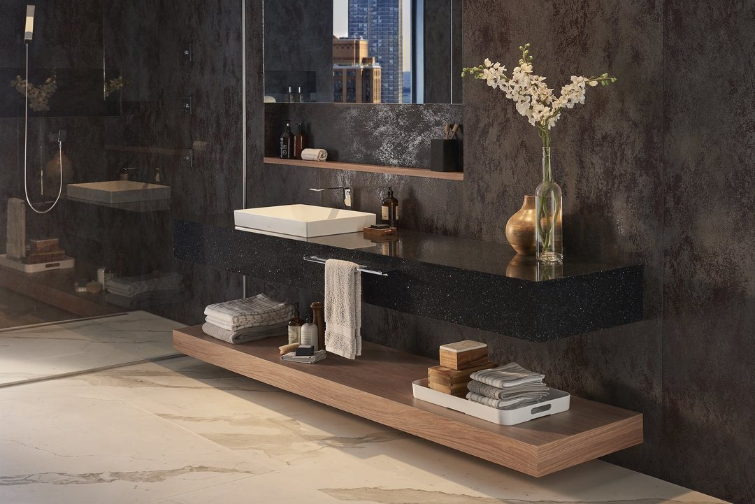 black quartz bathroom countertop