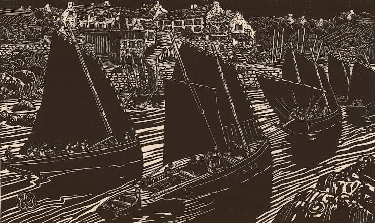 Yvonne Jean-Haffen (Paris, 1895 ; Dinan, 1993) Retour de pêche à Doëlan, 1928 Xylographie monogrammée, 42 x 60 cm Coll. Musée de Pont-Aven, inv. 1985.2.4 © Musée de Pont-Aven