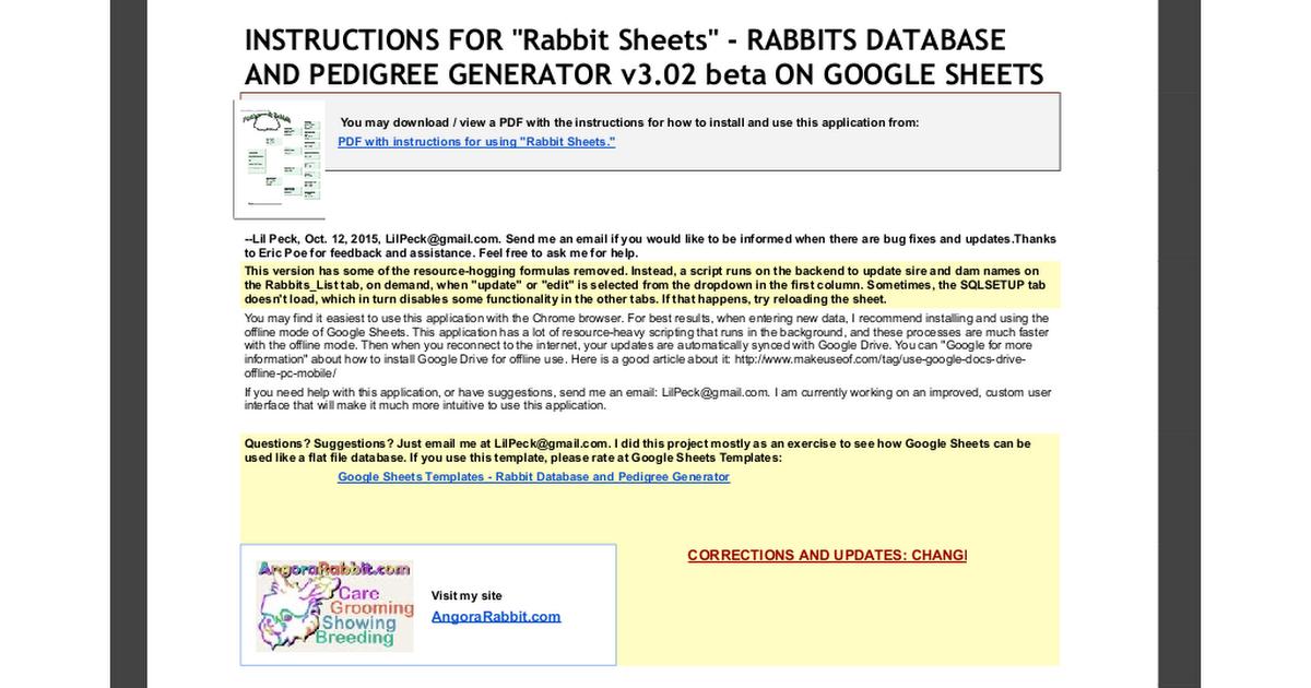 Rabbit Sheets - Rabbits Database and Pedigree Generator v3.02 beta ...