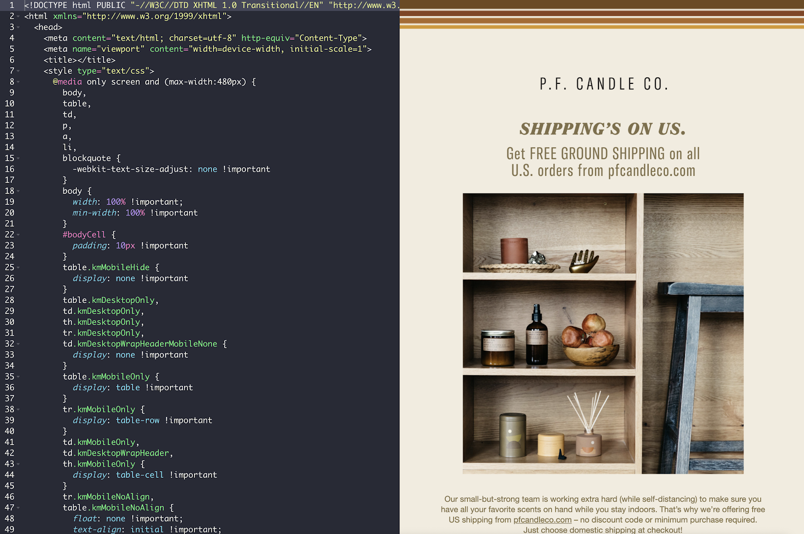 HTML email build from P.F. Candle Co.