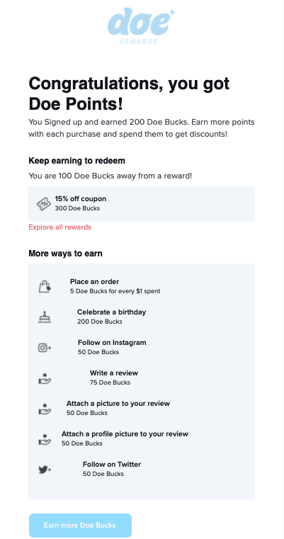 Screenshot of the email Doe Lashes sends about joining their loyalty program