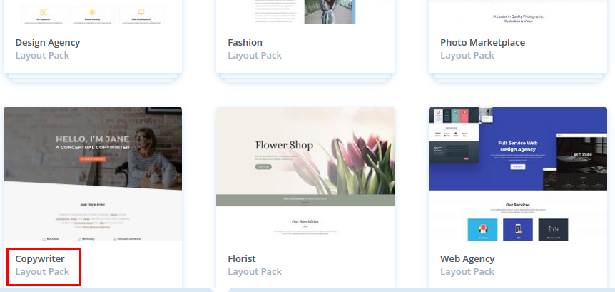 edit wordpress home page by choosing one layout pack