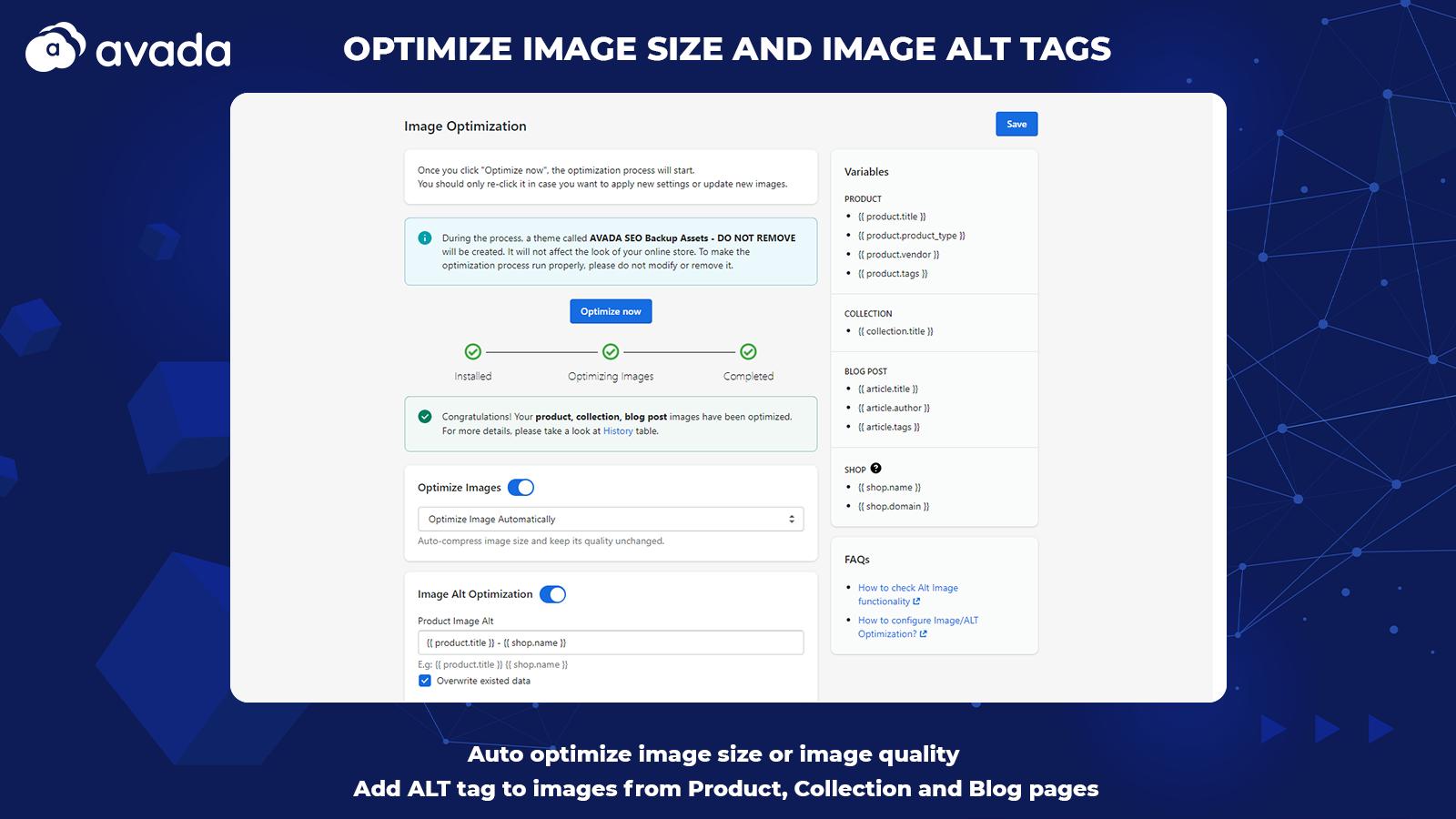 Optimize image, alt, image compression