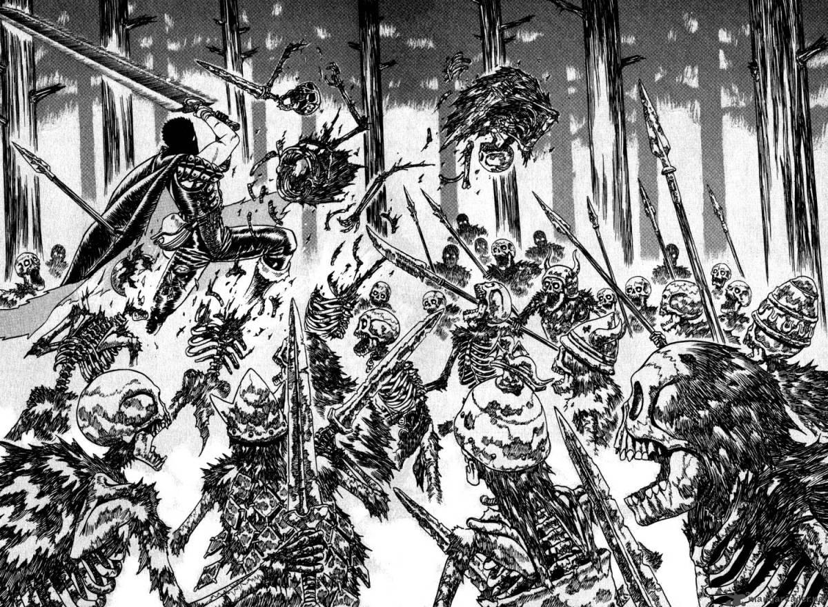 Guts - Berserk - skeleton battle