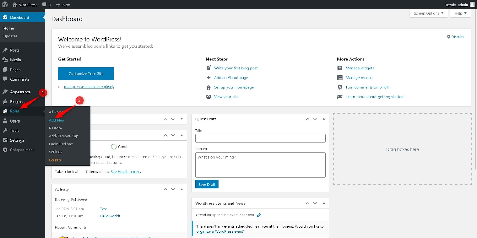 adding new user role in WordPress dashboard
