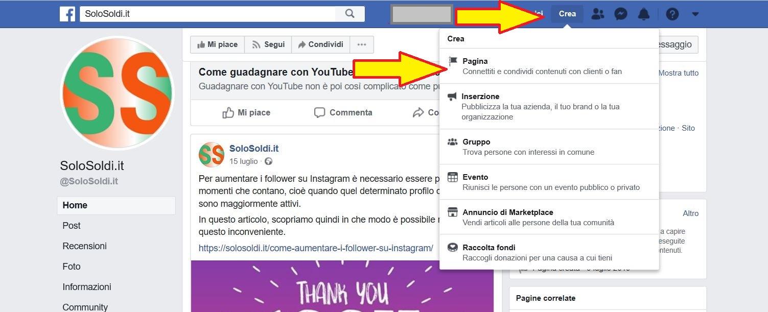 Creare pagina Facebook aziendale