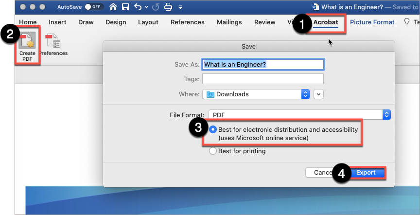 """In Word, use the Acrobat plug-in to create a PDF.  Select """"Best for electronic distribution..."""", then Export."""
