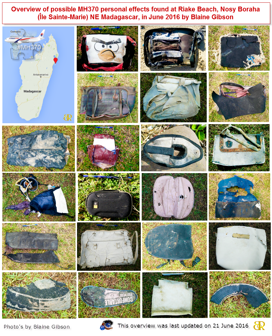 Overview Possible Personal Items MH370 - 21 June 2016