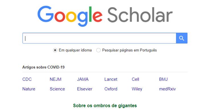 página inicial do Google Scholar