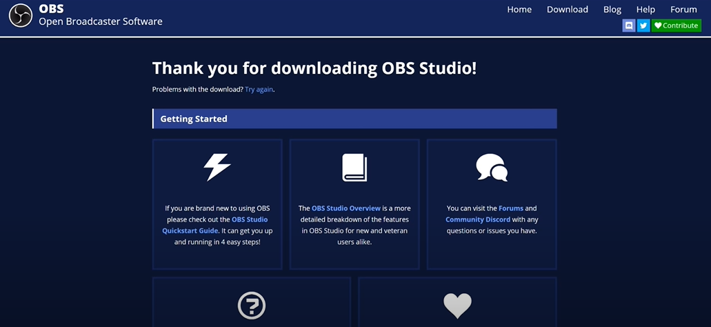 Download and install the OBS broadcaster software