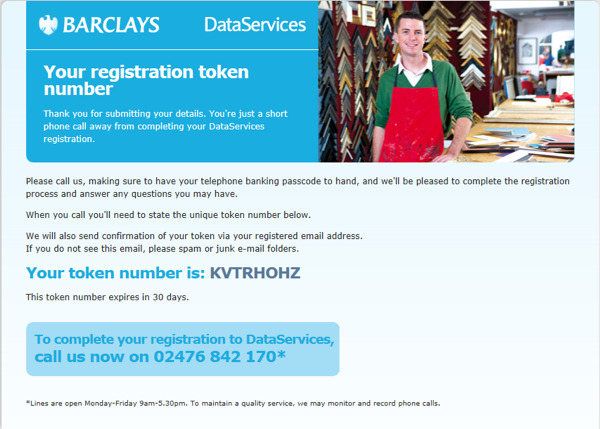 BarclaysData Services registration token and updated phone number