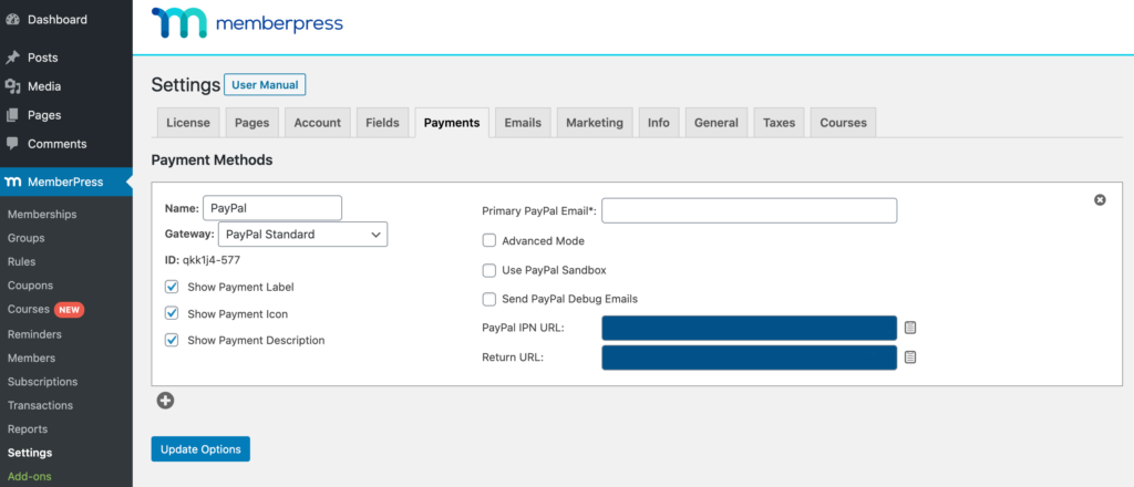 MemberPress' payment gateway settings.