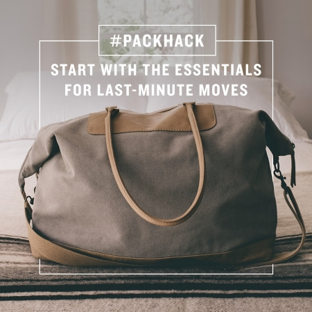 #packhack - start with the essentials for last-minute moves
