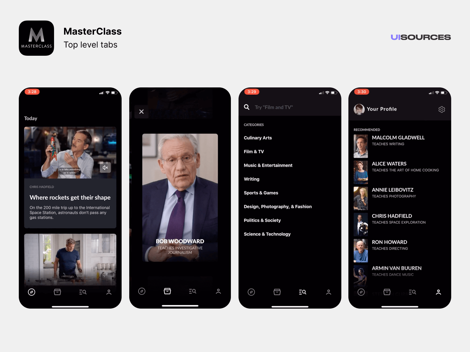 MasterClass mobile app with various courses.