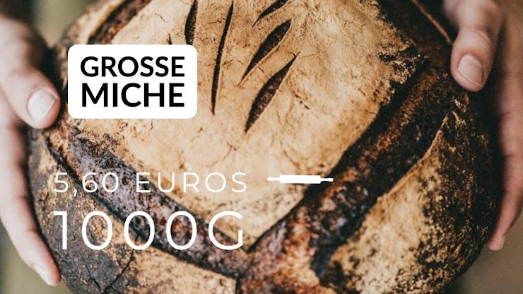 Ingrédients : farine de blé bio T80 et 20% de farine de seigle intégrale, du levain naturel de seigle, sel de Guérande, eau.