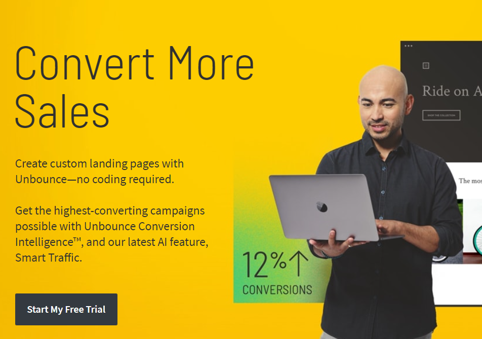 Screenshot of Unbounce homepage is part of the Clickfunnels alternatives review article.
