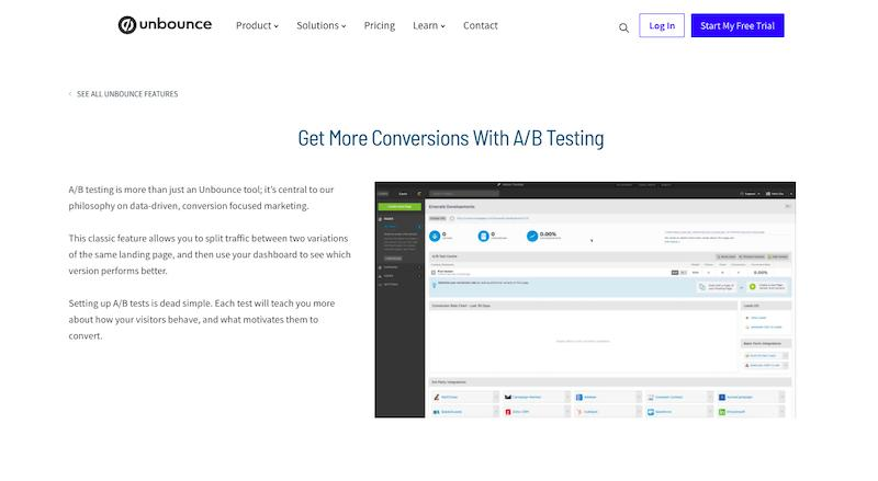 Unbounce A/B testing tool