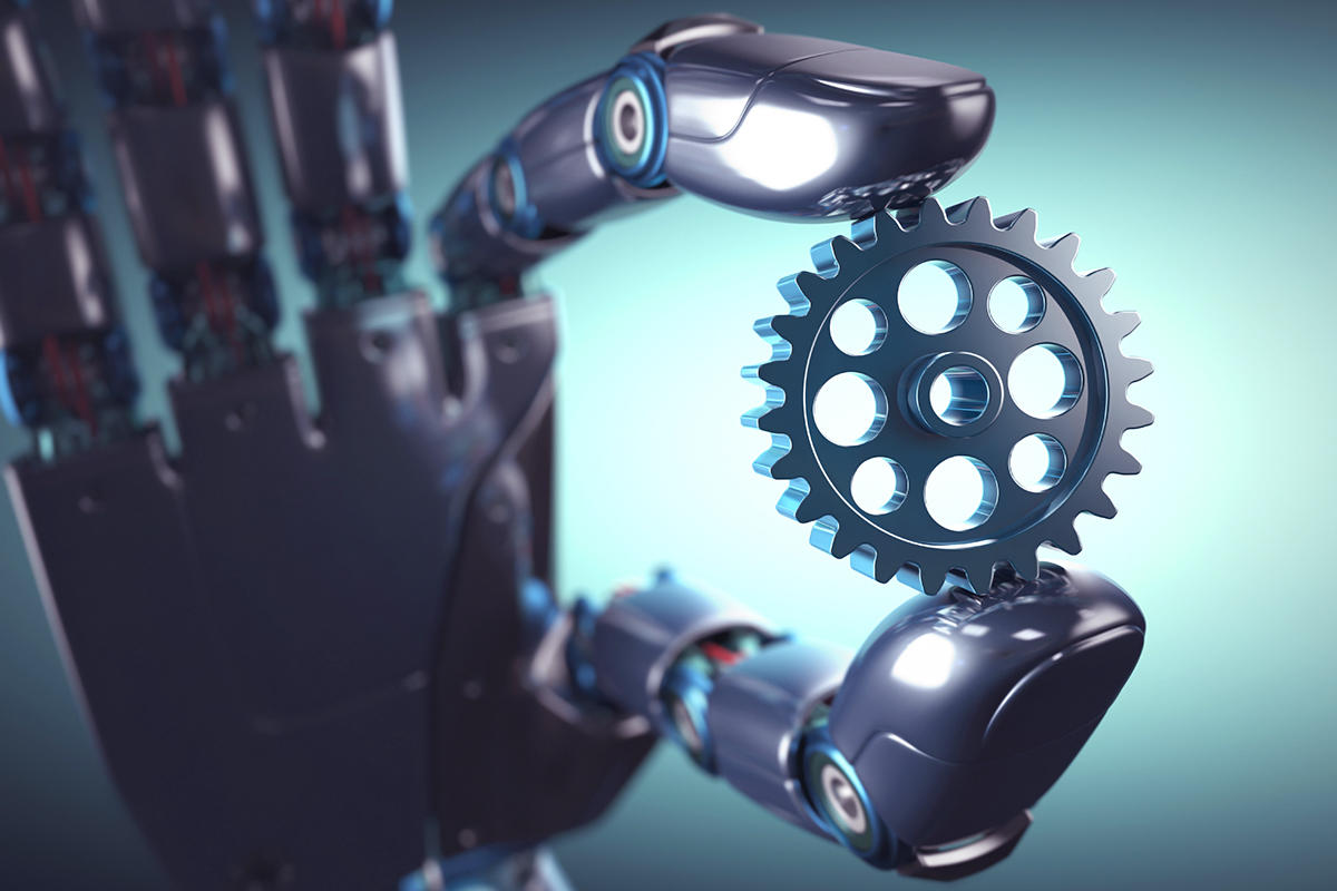 Robotic hand holding a gear, workflow automation