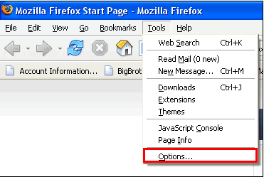 Screen shot of web page for settings