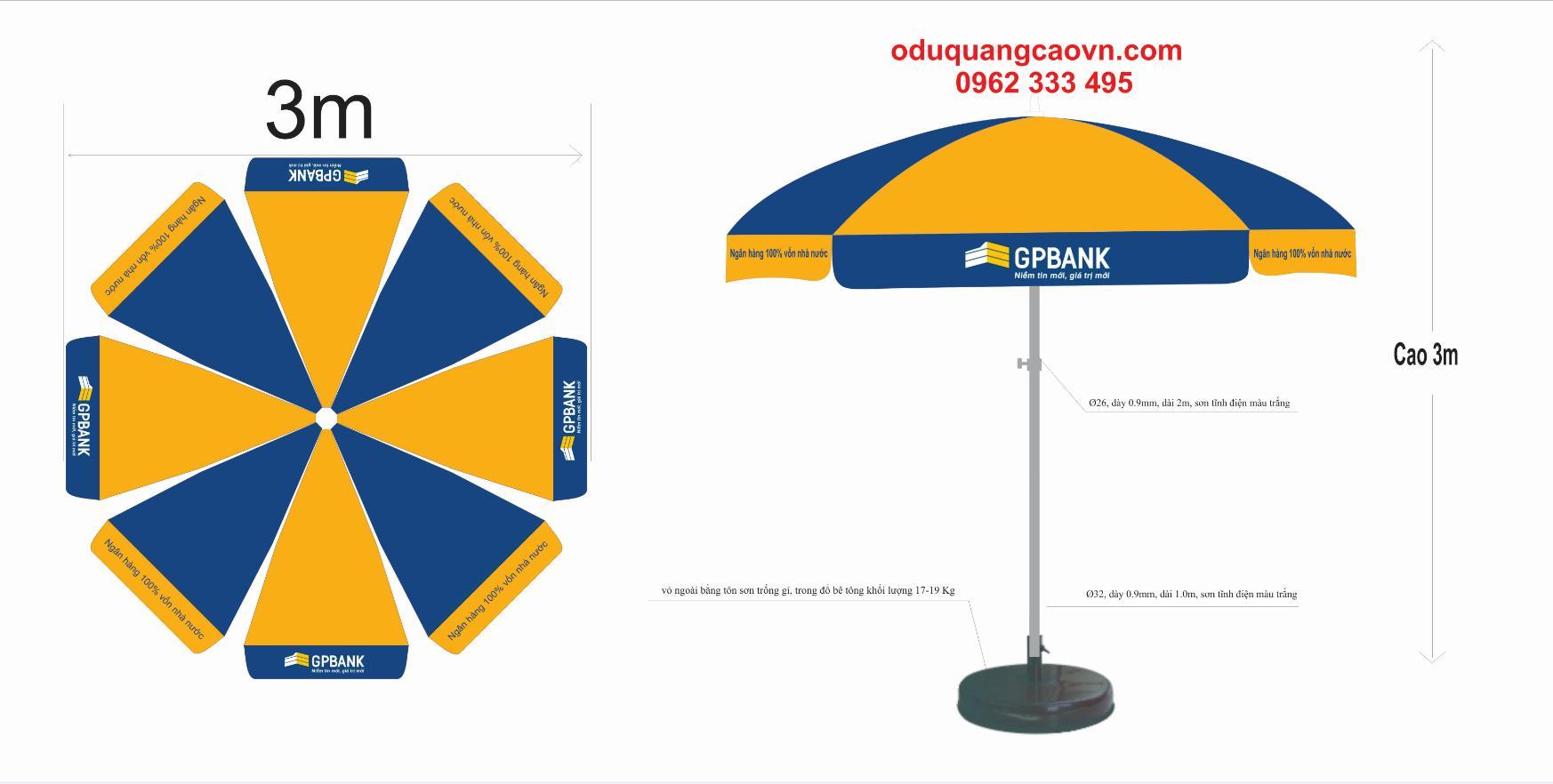Nhu cầu sử dụng ô dù quảng cáo hiện nay ngày một nhiều