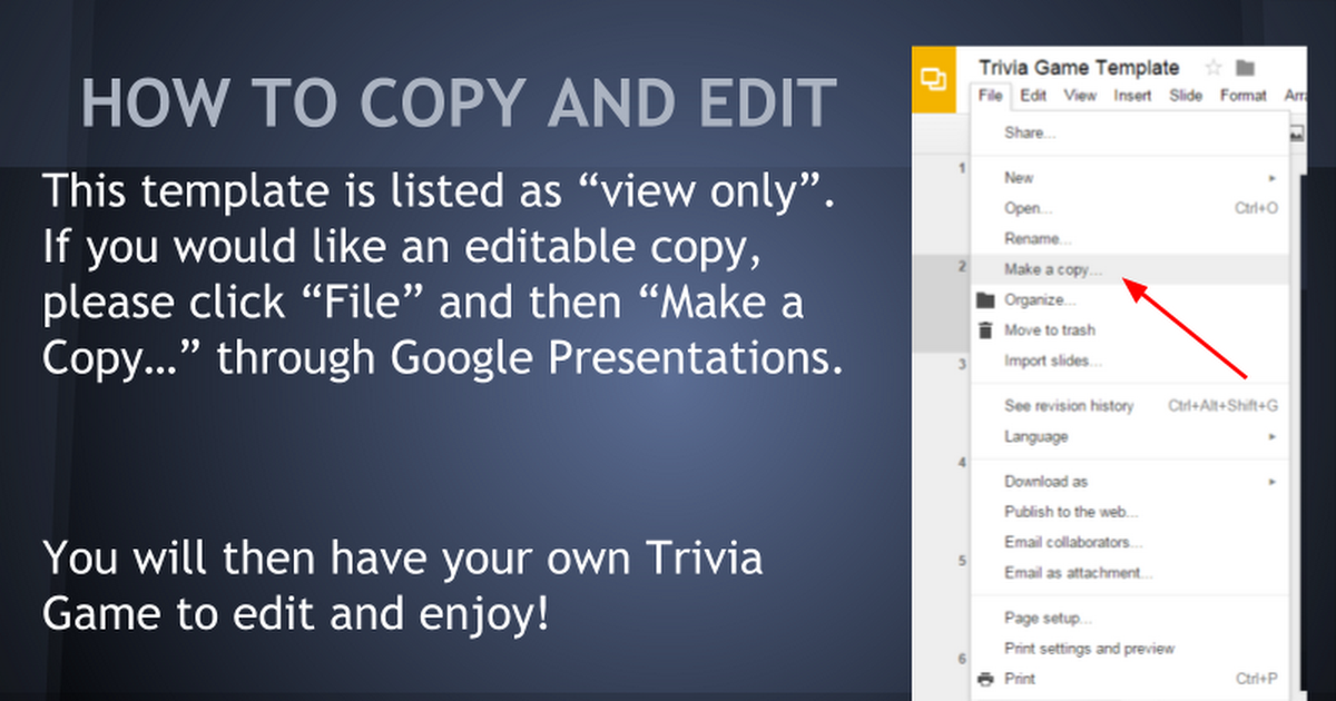 trivia game template google slides