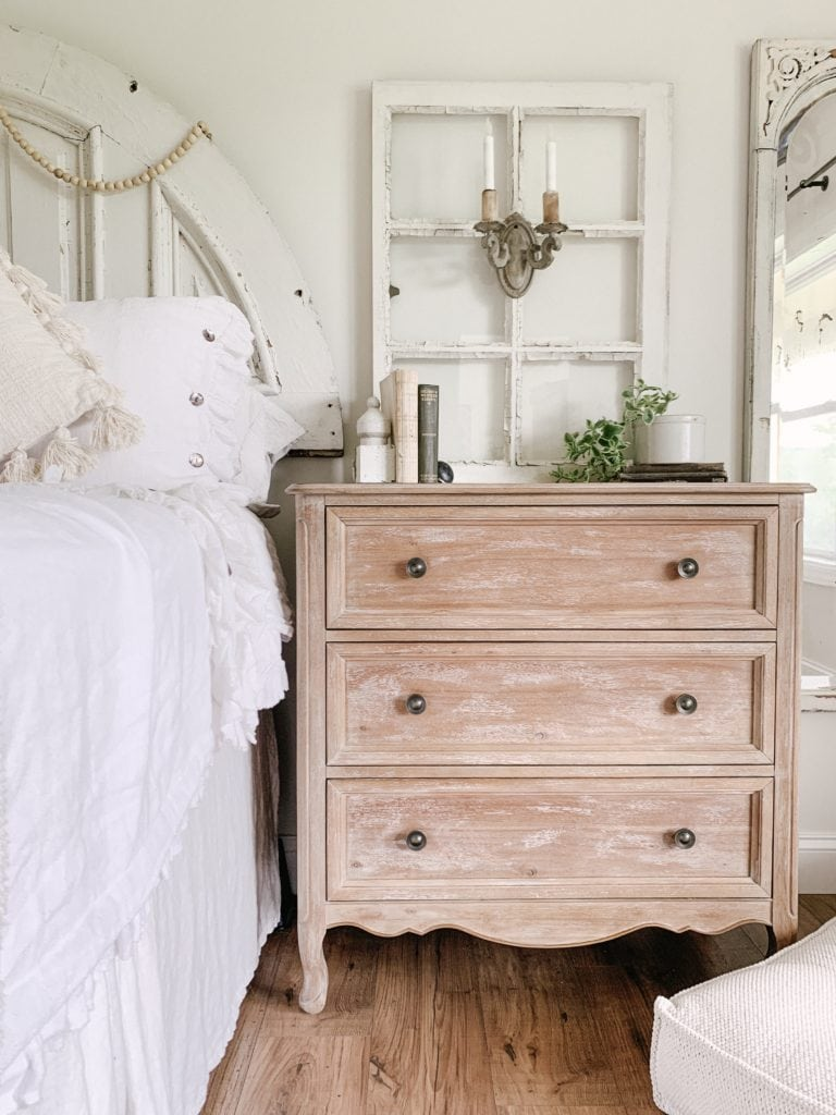 Wooden Nightstand With An Old Chic Window Frame