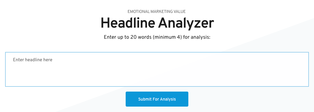 Content marketing tools - Headline Analyser