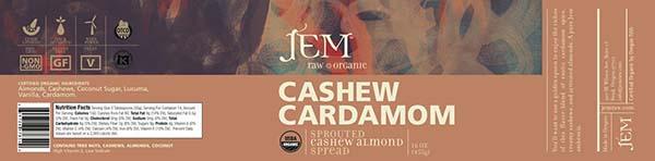 Label, JEM Raw Organic CASHEW CARDAMOM Sprouted Cashew Almond Spread, 16 oz.
