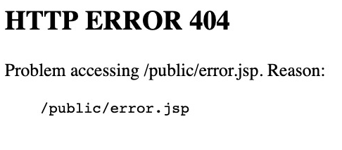 HTTP ERROR 404 Problem Accessing /public/error.jsp