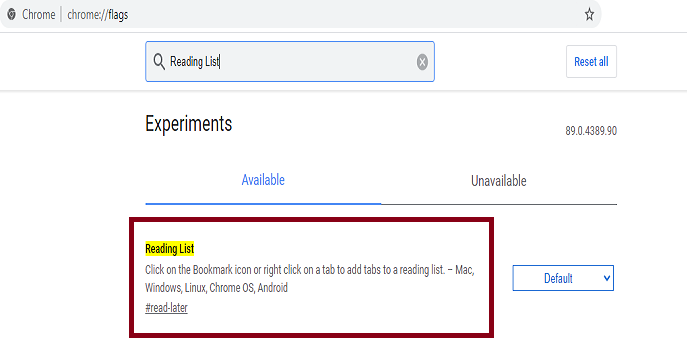 How to enable Reading List in Google Chrome for Windows