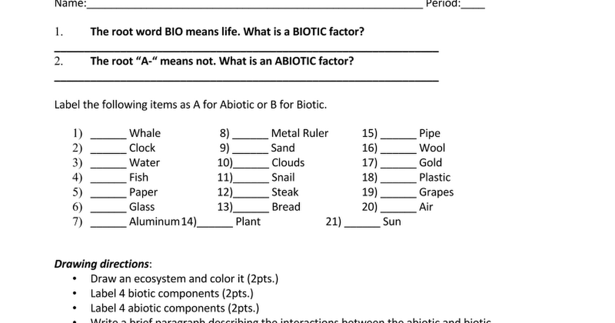 Worksheets Abiotic And Biotic Factors Worksheet abiotic vs biotic factors worksheet doc google docs