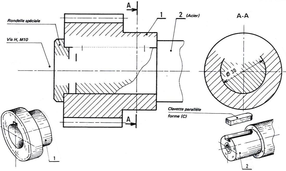 Les liaisons compl tes pr senter les diff rentes solutions constructives pour r aliser une - Coupe et section dessin technique ...
